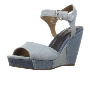 *NEW* Naughty Monkey Denim Open Toe Wedge Heels 9